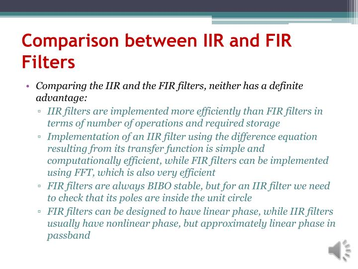 Comparison between IIR and FIR Filters