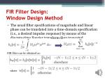 fir filter design window design method