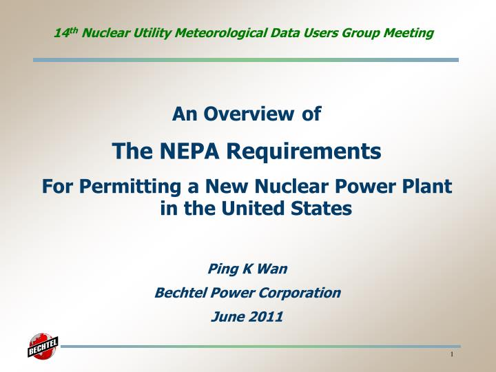 14 th nuclear utility meteorological data users group meeting