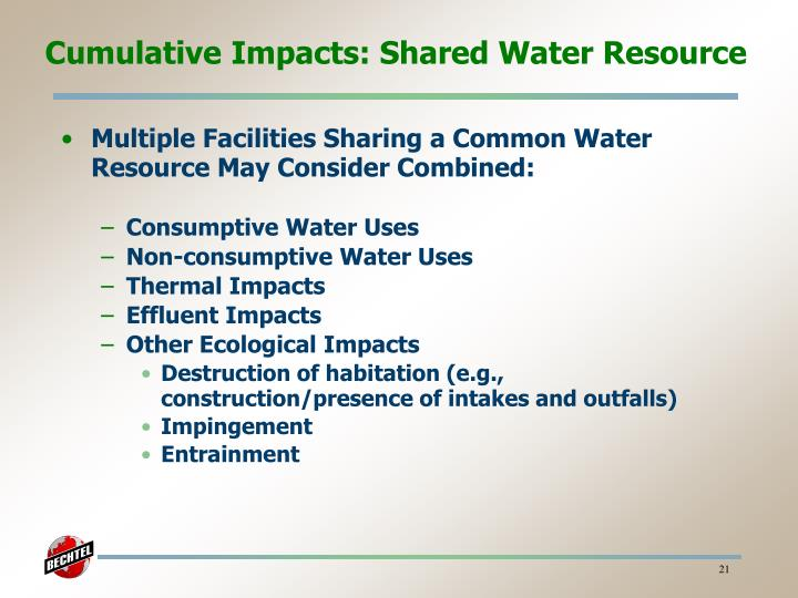 Cumulative Impacts: Shared Water Resource