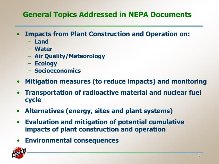 General Topics Addressed in NEPA Documents