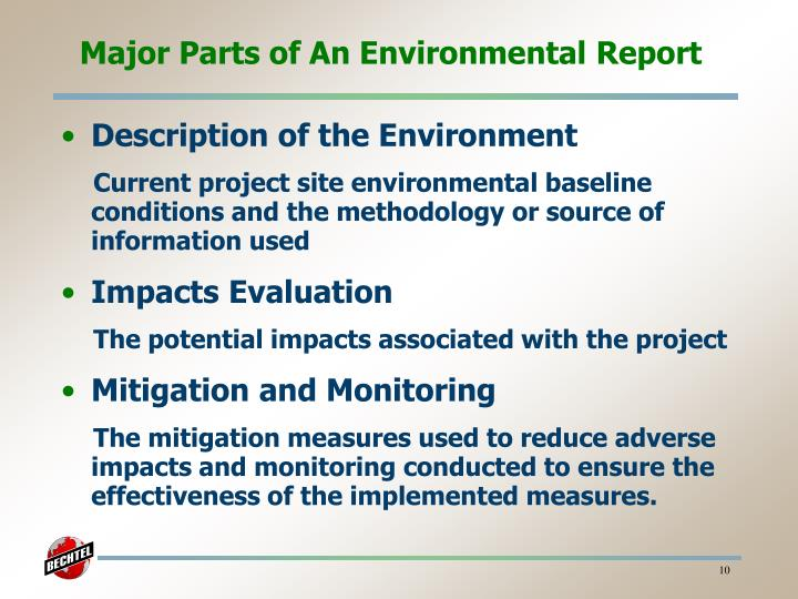 Major Parts of An Environmental Report