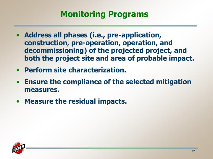 Monitoring Programs