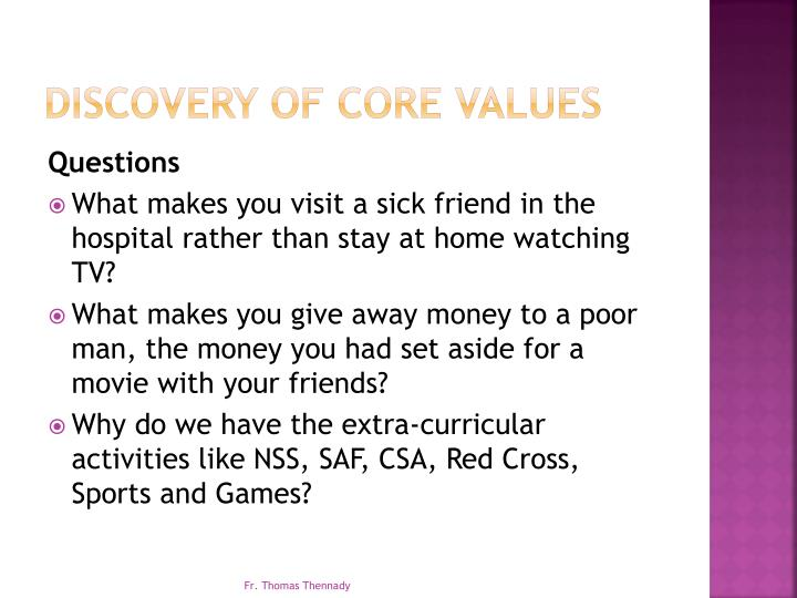 Discovery of core values1