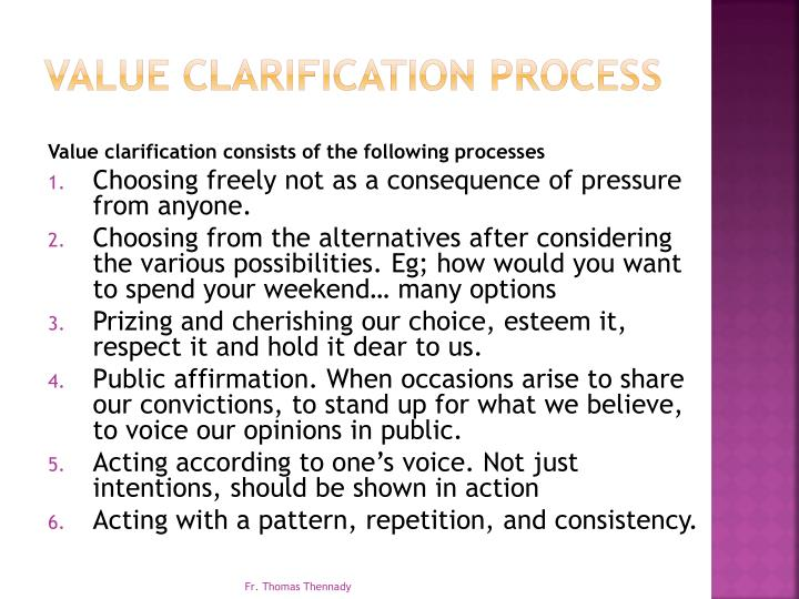 Value Clarification Process