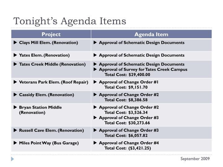Tonight's Agenda Items