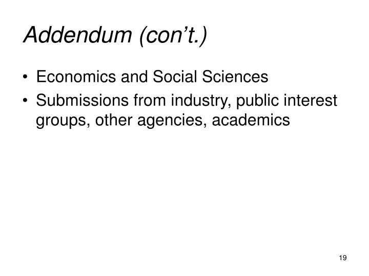 Addendum (con't.)