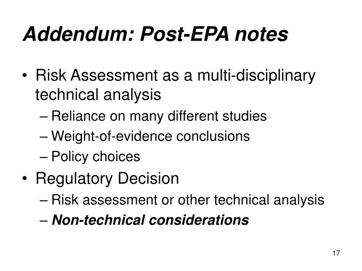 Addendum: Post-EPA notes