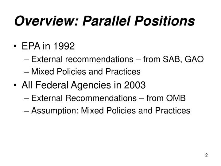 Overview parallel positions
