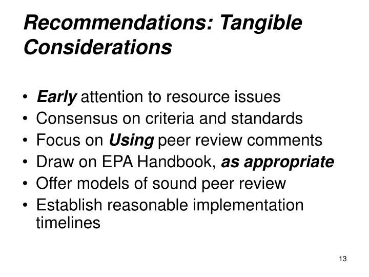 Recommendations: Tangible