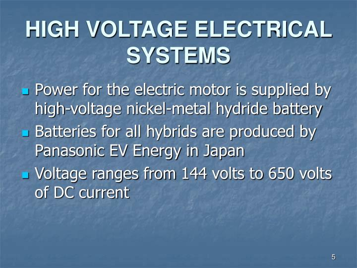 HIGH VOLTAGE ELECTRICAL SYSTEMS