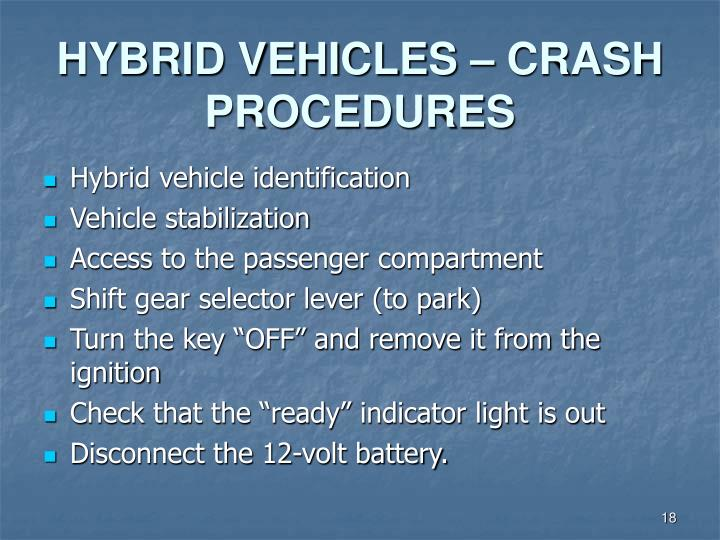 HYBRID VEHICLES – CRASH PROCEDURES