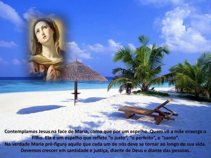 Contemplamos Jesus na face de Maria, como que por um espelho. Quem v a me enxerga o Filho. Ela  um espelho que reflete o justo, o perfeito, o santo.