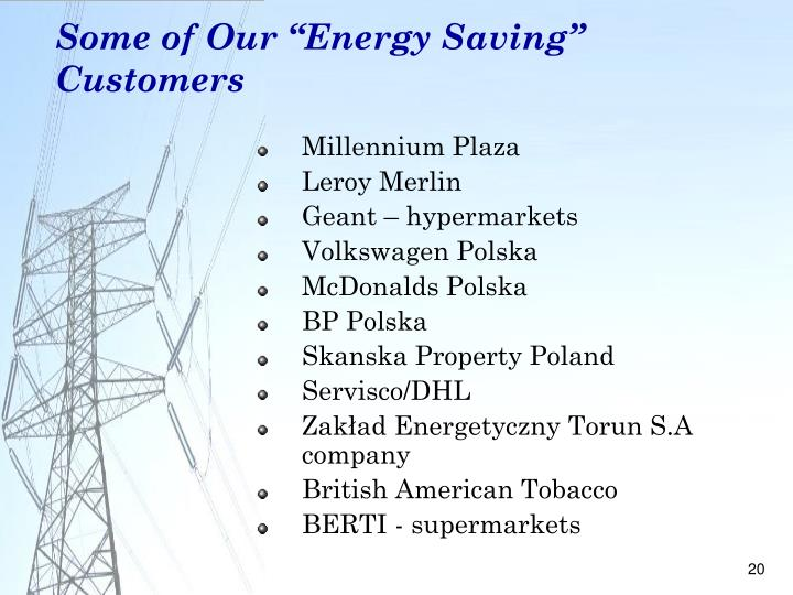 "Some of Our ""Energy Saving"" Customers"