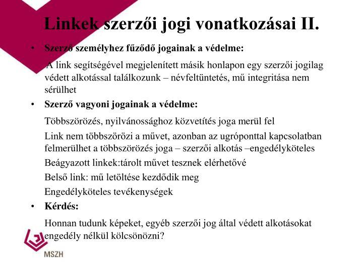 Linkek szerzői jogi vonatkozásai II.