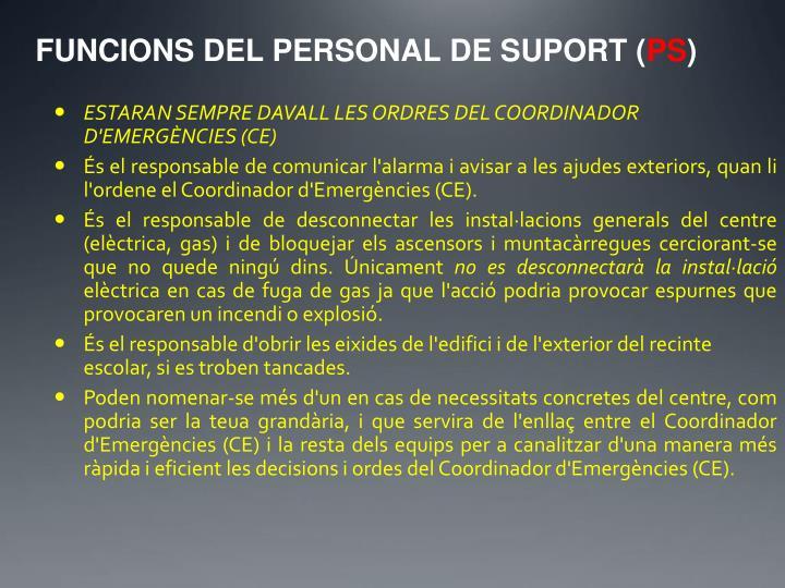 FUNCIONS DEL PERSONAL DE SUPORT (