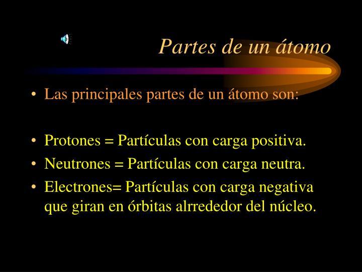 Partes de un átomo