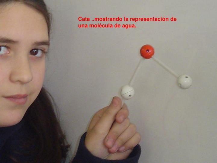 Cata ..mostrando la representación de una molécula de agua.