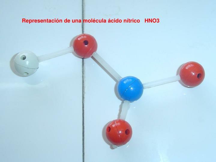 Representación de una molécula ácido nítrico   HNO3