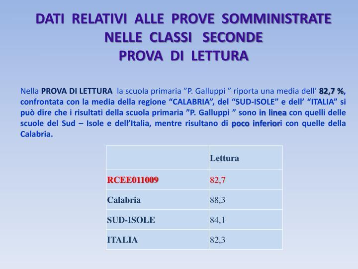 DATI  RELATIVI  ALLE  PROVE  SOMMINISTRATE NELLE  CLASSI   SECONDE