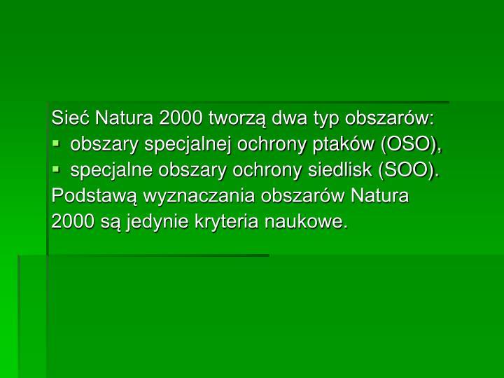 Sieć Natura 2000 tworzą dwa typ obszarów: