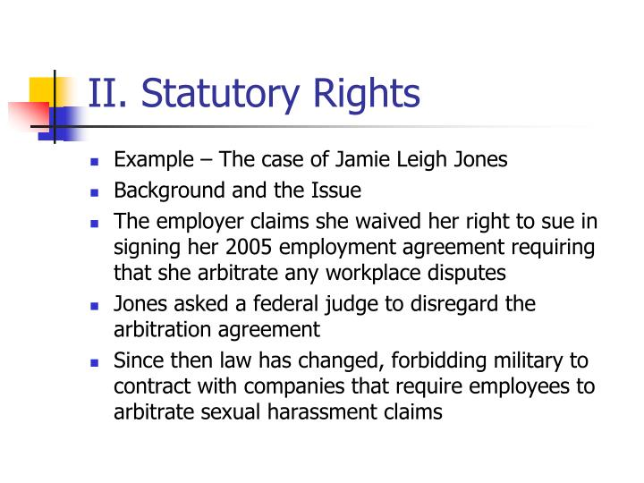 II. Statutory Rights