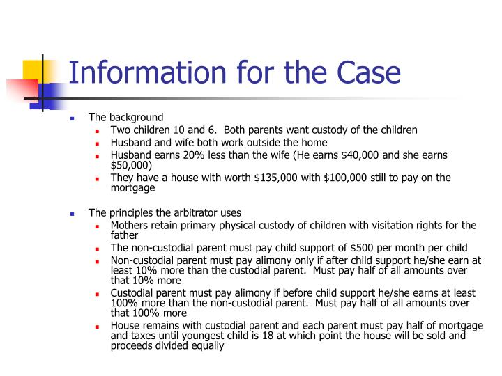 Information for the Case