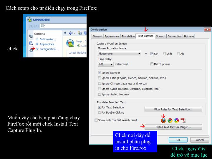 Cách setup cho tự điển chạy trong FireFox: