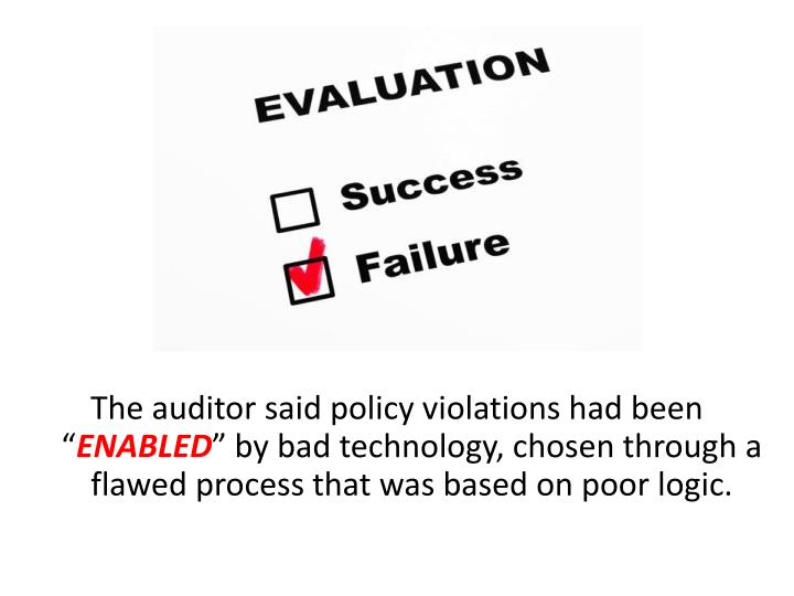 The auditor said policy violations had been ""