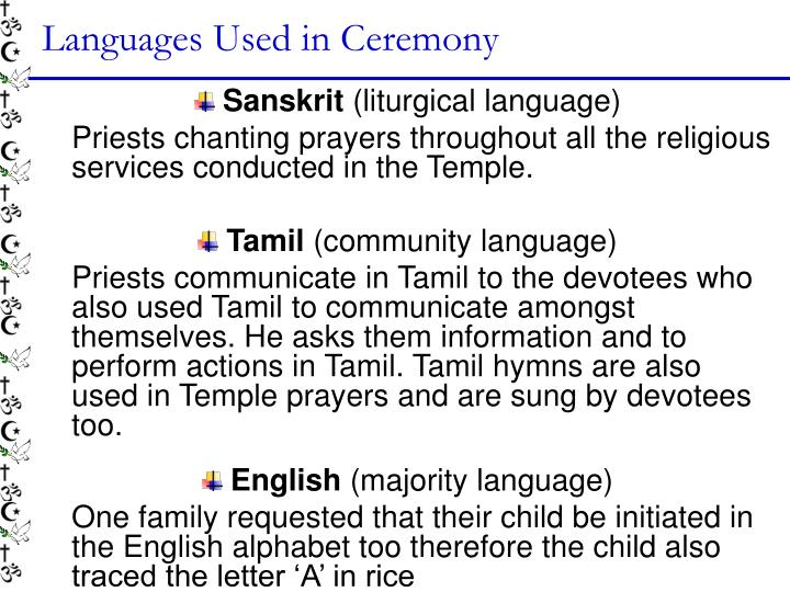 Languages Used in Ceremony
