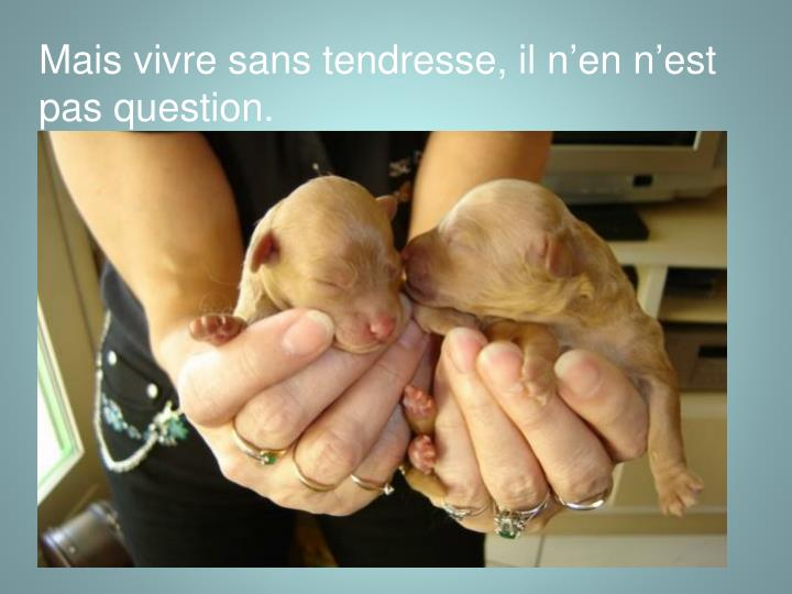 Mais vivre sans tendresse, il n'en n'est pas question.