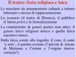 il teatro festa religiosa e laica