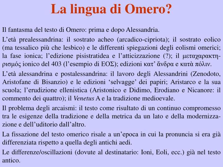 La lingua di Omero?