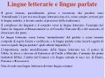 lingue letterarie e lingue parlate