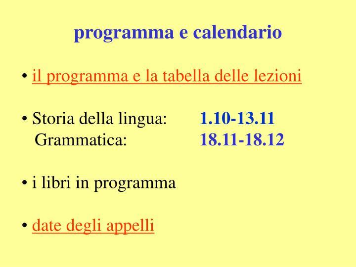 programma e calendario