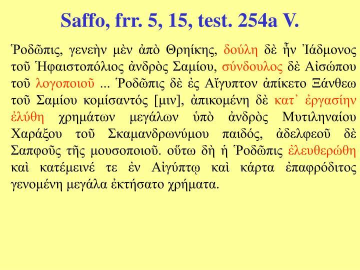 Saffo, frr. 5, 15, test. 254a V.