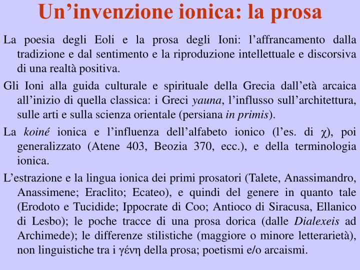 Un'invenzione ionica: la prosa