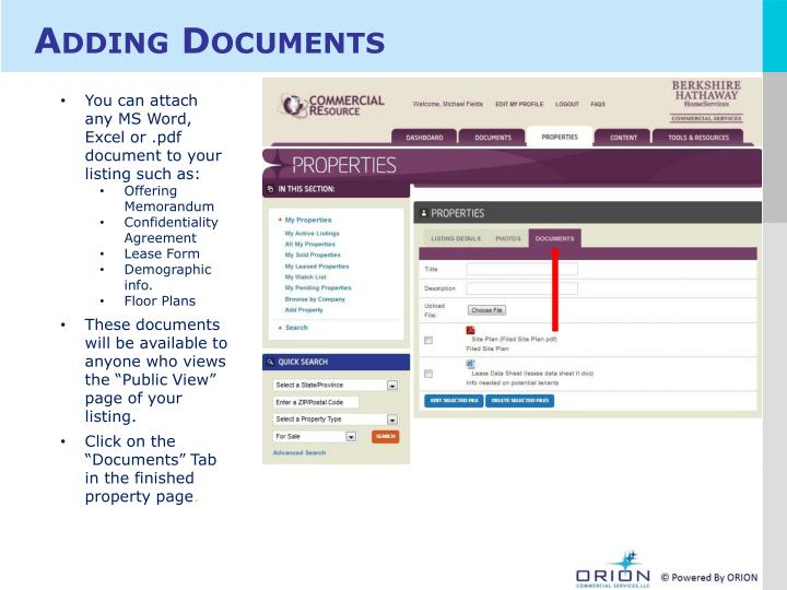 Adding Documents