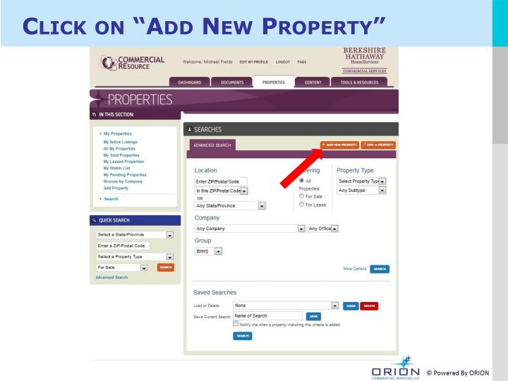 "Click on ""Add New Property"""