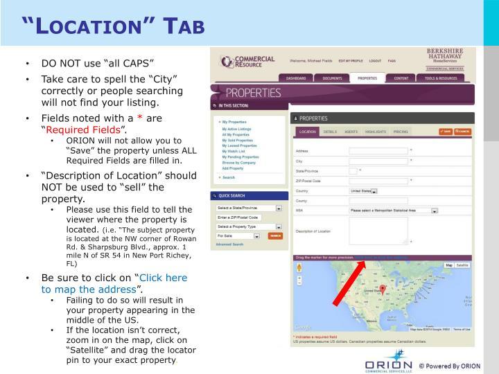 """Location"" Tab"