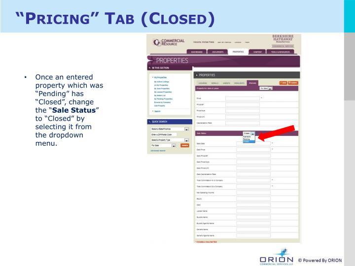 """Pricing"" Tab (Closed)"