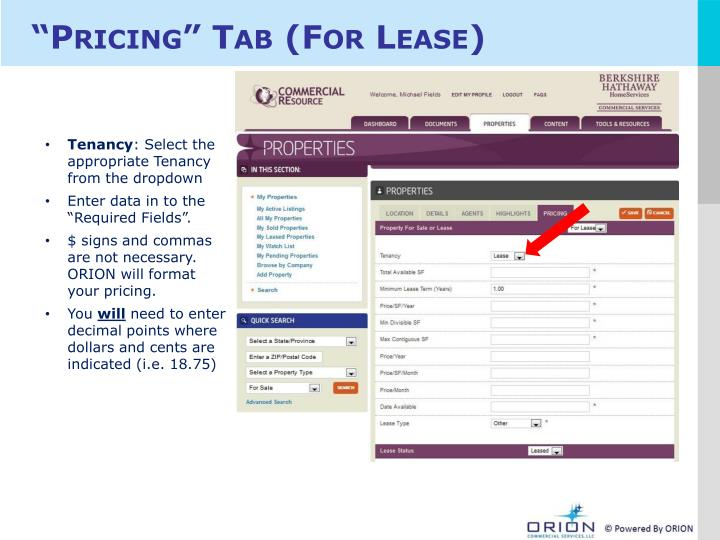 """""""Pricing"""" Tab (For Lease)"""