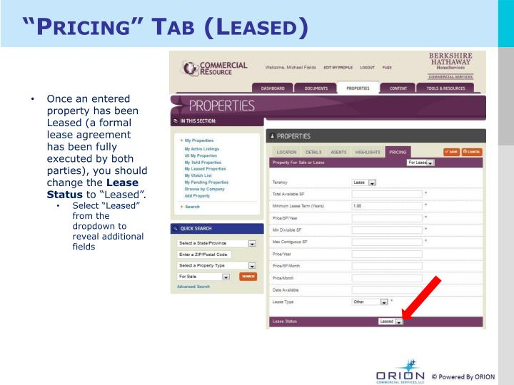 """Pricing"" Tab (Leased)"