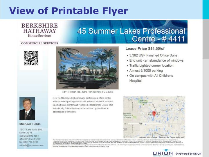 View of Printable Flyer
