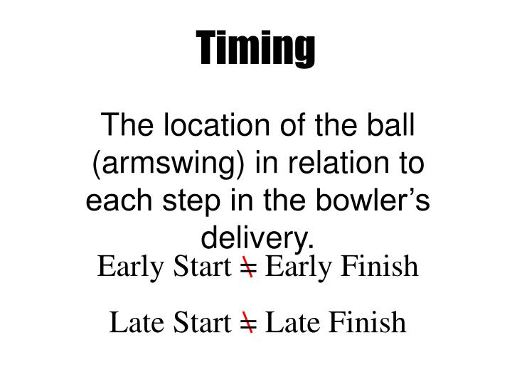 The location of the ball (armswing) in relation to each step in the bowler's delivery.