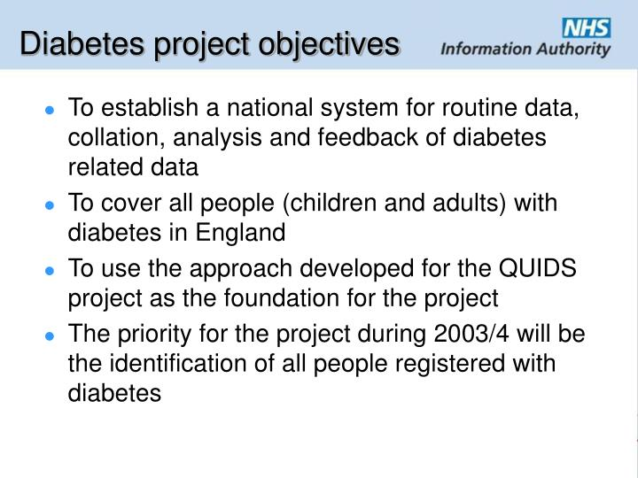 Diabetes project objectives