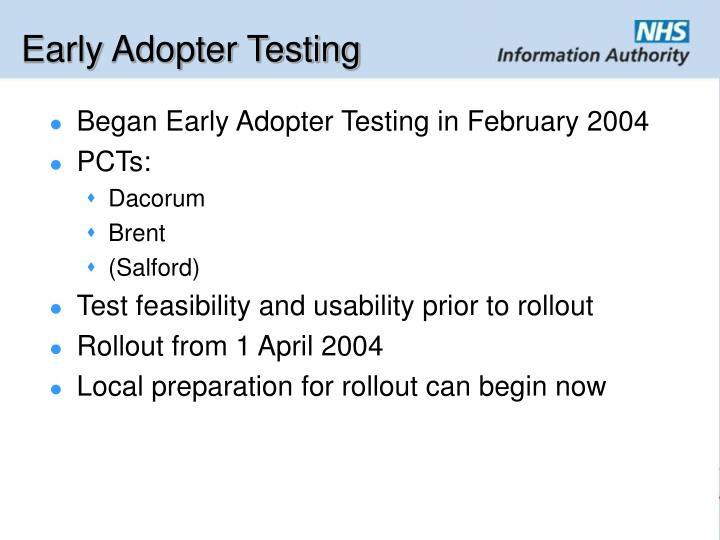 Early Adopter Testing