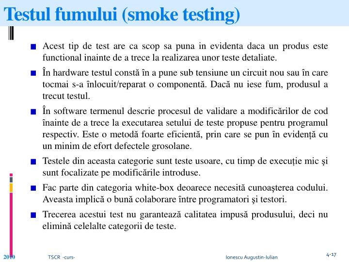 Testul fumului (smoke testing)