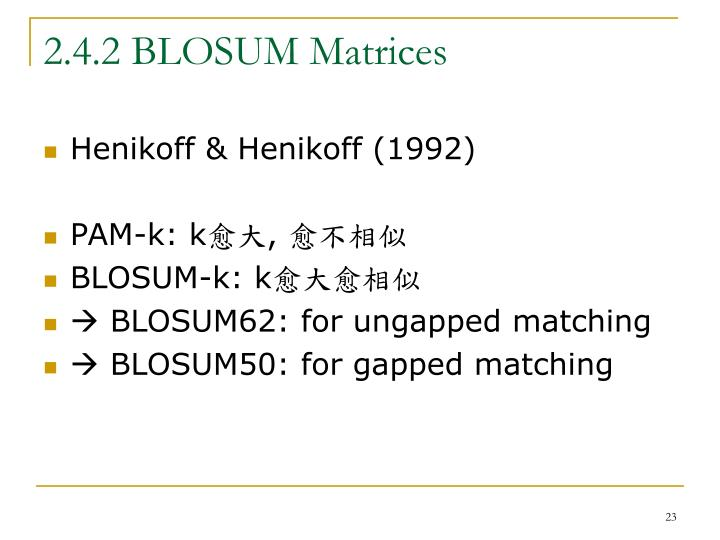 2.4.2 BLOSUM Matrices