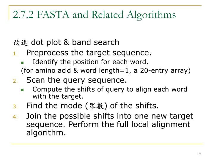 2.7.2 FASTA and Related Algorithms